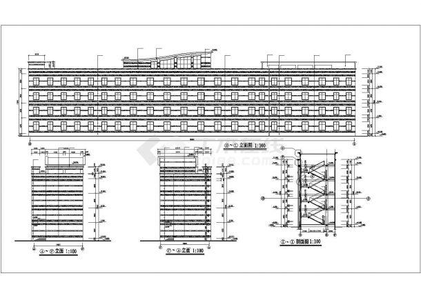 衡阳市某高校86x9米左右4层框架结构教学楼平立剖面设计CAD图纸-图二