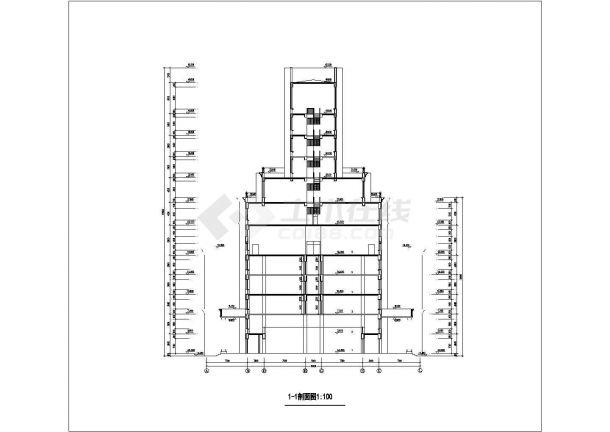 宜兴市某高校1.3万平米6层框架结构教学楼建筑设计CAD图纸-图一