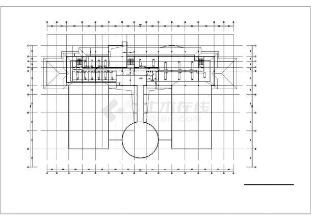 3500平米3层钢框架结构体育会所各层空调水管平面设计CAD图纸-图一