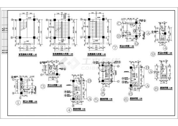 北京某小区占地550平米6层砖混结构住宅楼全套建筑设计CAD图纸-图二