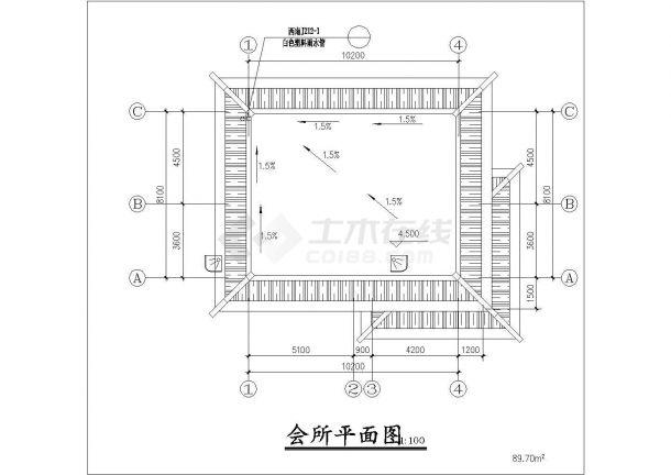 衢州市某村镇居委会单层砖混结构活动会所平立面设计CAD图纸-图一