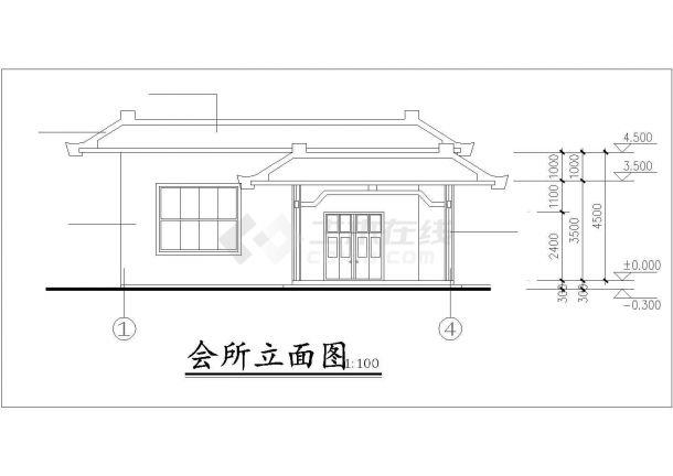 衢州市某村镇居委会单层砖混结构活动会所平立面设计CAD图纸-图二