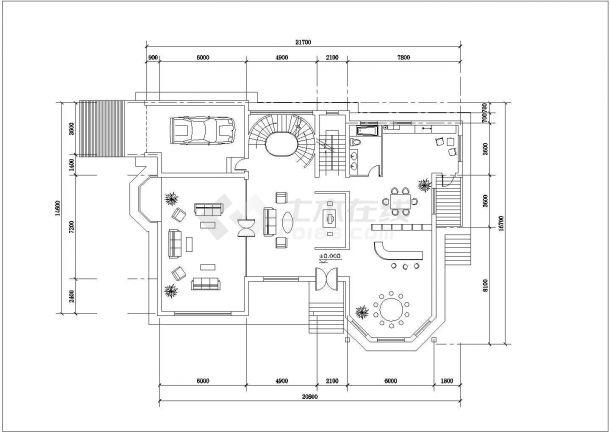 375平2层框混结构单体别墅平立剖面设计CAD图纸(含效果图和总平面图)-图一
