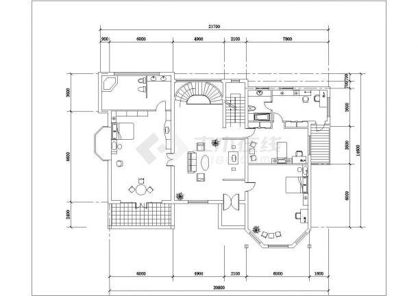 375平2层框混结构单体别墅平立剖面设计CAD图纸(含效果图和总平面图)-图二