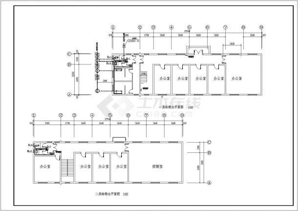 排水设计_某三层办公楼给排水全套设计CAD图-图二