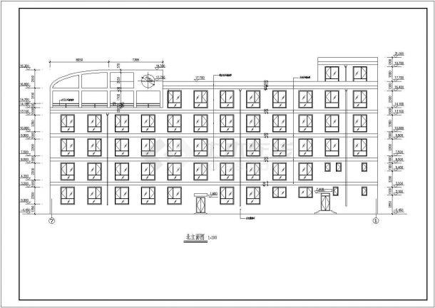 办公楼设计_某五层办公楼全套施工CAD图-图二