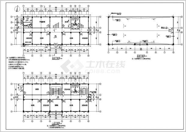 办公楼设计_某地五层办公楼建筑施工CAD图-图一