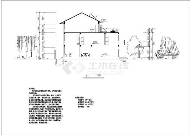 常州某小区320平米2层砖混结构别墅住宅楼建筑设计CAD图纸(含阁楼)-图一
