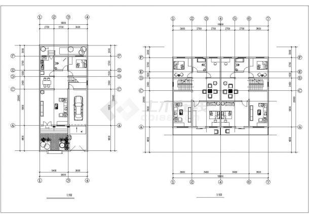 常州某小区320平米2层砖混结构别墅住宅楼建筑设计CAD图纸(含阁楼)-图二