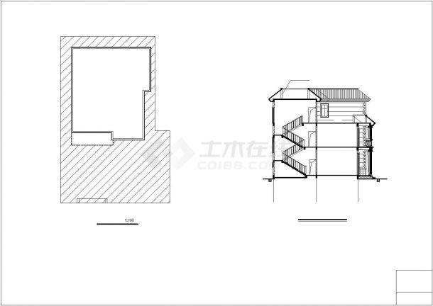 345平米3层钢混框架结构单体别墅全套建筑设计CAD图纸-图一