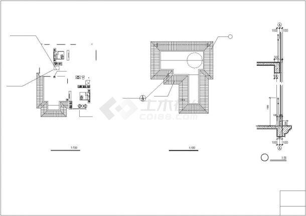 345平米3层钢混框架结构单体别墅全套建筑设计CAD图纸-图二