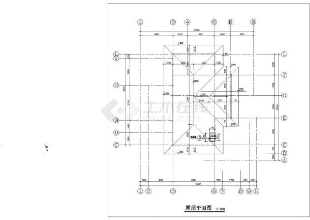 湖州某小区377平米三层混合结构单体别墅平立剖面设计CAD图纸-图一