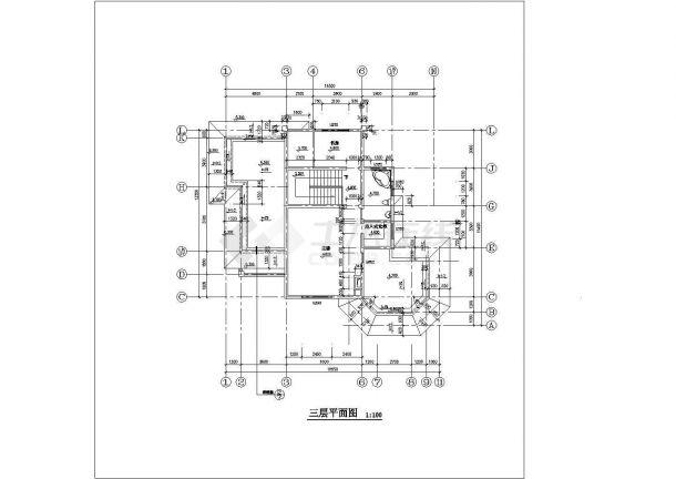 湖州某小区377平米三层混合结构单体别墅平立剖面设计CAD图纸-图二