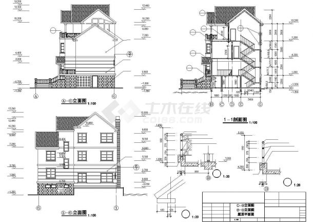410平米3层框架结构单体别墅建筑设计CAD图纸(含夹层和效果图)-图一