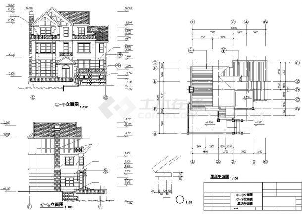 410平米3层框架结构单体别墅建筑设计CAD图纸(含夹层和效果图)-图二