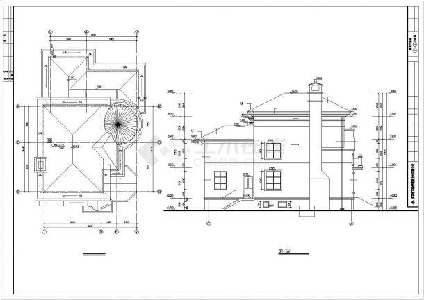 扬州某小区425平米3层砖混结构私人别墅建筑设计CAD图纸(含效果图)-图一