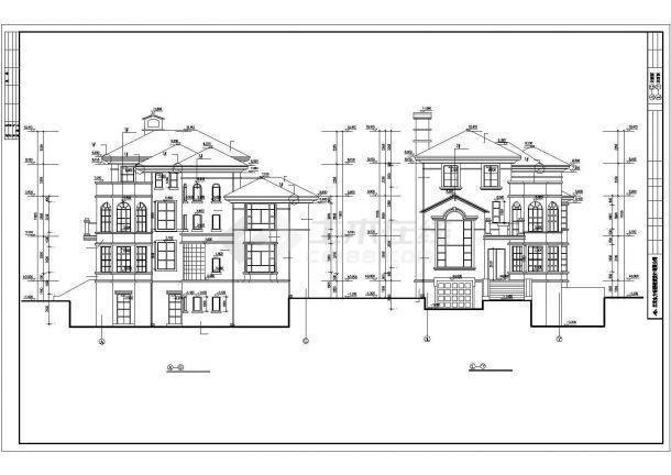 扬州某小区425平米3层砖混结构私人别墅建筑设计CAD图纸(含效果图)-图二