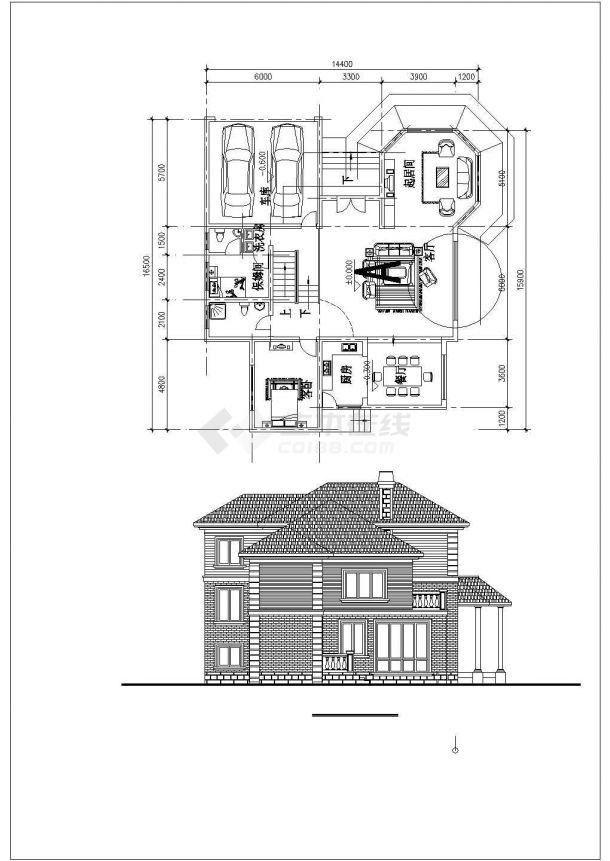 326平米3层混合结构单体别墅平立剖面设计CAD图纸(含效果图)-图二