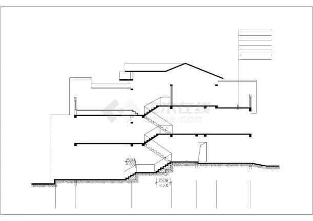 395平米3层砖混结构单体别墅平立剖面设计CAD图纸(含效果图)-图二