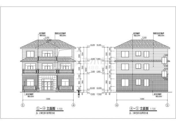 占地140平米3层框混结构单体别墅全套建筑+结构设计CAD图纸-图一