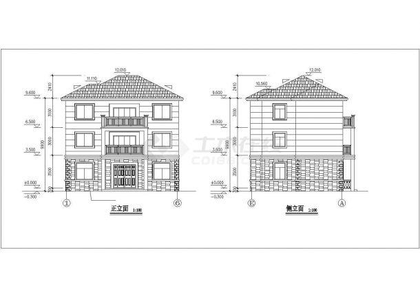 345平米左右3层框混结构单体别墅平立剖面设计CAD图纸(含效果图)-图一