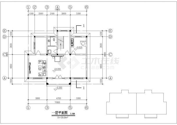 345平米左右3层框混结构单体别墅平立剖面设计CAD图纸(含效果图)-图二