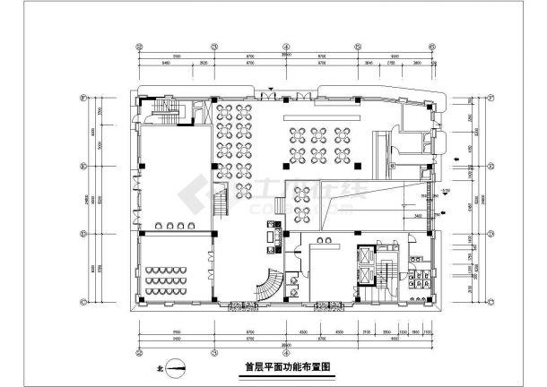 1.3万平米7层框混结构商务酒店全套平面装修施工设计CAD图纸-图一