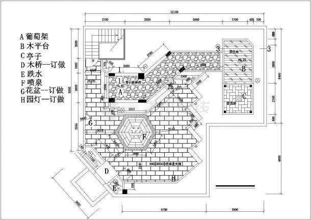 某私人高档住房屋顶园林建筑方案设计图-图一
