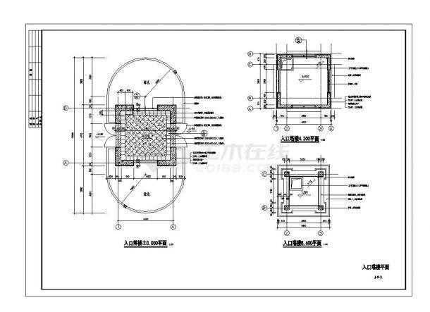 [长沙]别墅会所及入口园林景观工程施工cad图纸-图一