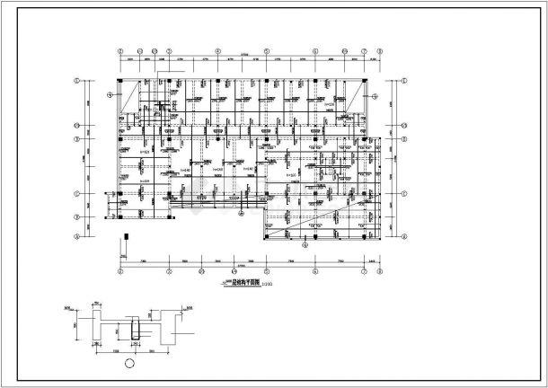 某地区六层框架结构办公楼结构设计施工方案CAD图纸-图一