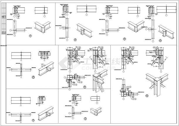 某混凝土建筑结构加层钢结构加固设计施工方案CAD图纸-图一