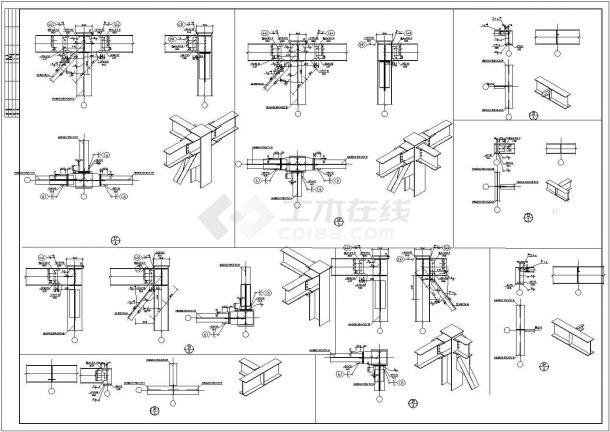 某混凝土建筑结构加层钢结构加固设计施工方案CAD图纸-图二