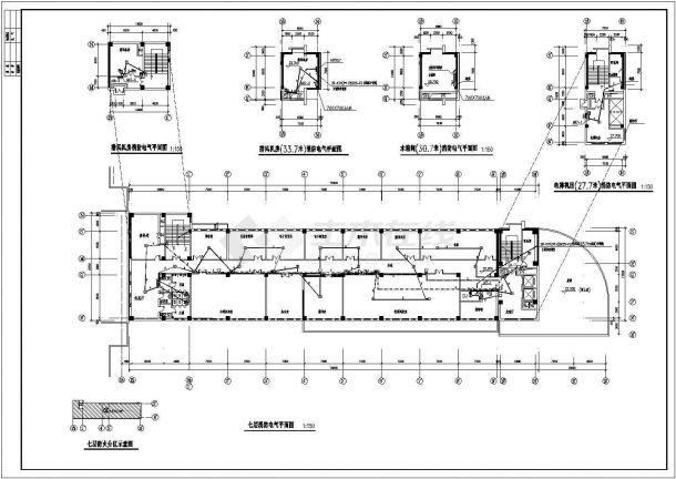 火灾报警系统_某五层教学楼火灾自动报警CAD图纸-图一