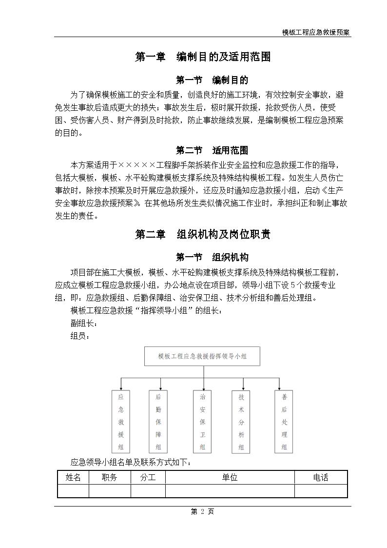 某市模板工程应急救援预案设计组织方案-图二