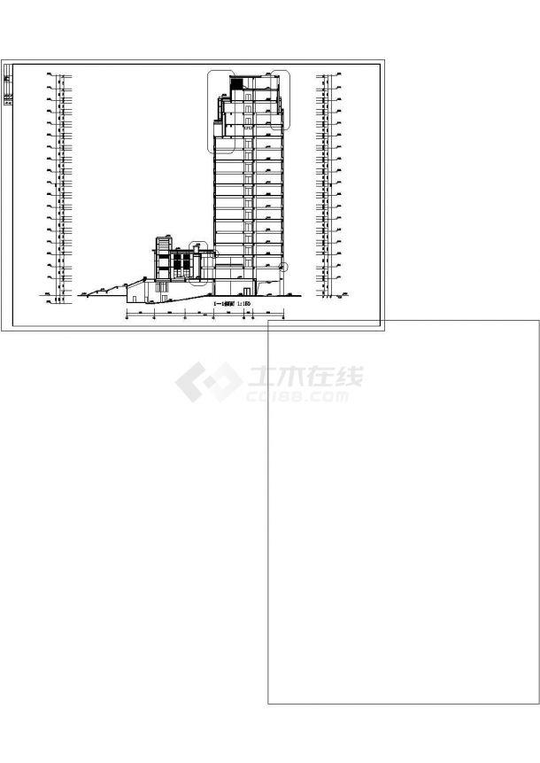 某大学2.2万平米17层框架结构教学实验楼建筑CAD设计图纸-图二