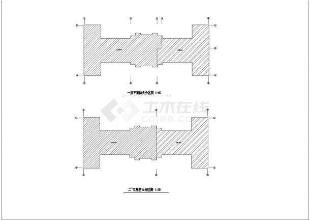襄樊市某大学1.3万平米6层框架结构教学楼建筑CAD设计图纸-图一