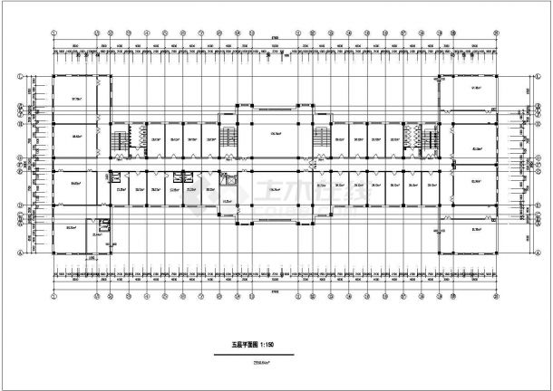 襄樊市某大学1.3万平米6层框架结构教学楼建筑CAD设计图纸-图二
