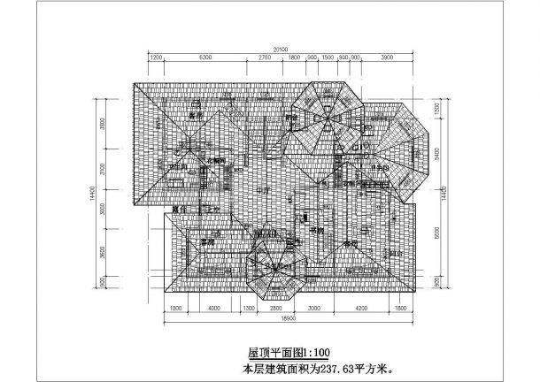480平米2层砖混结构乡村别墅平立面CAD设计图纸(含效果图)-图一