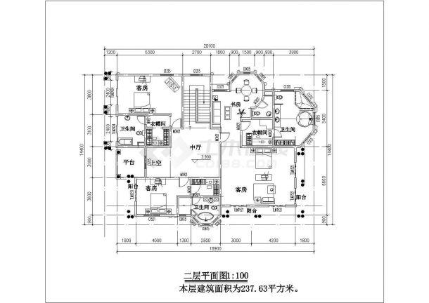 480平米2层砖混结构乡村别墅平立面CAD设计图纸(含效果图)-图二
