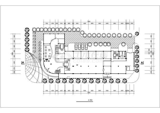 7200平米9层框架结构商务酒店平立剖面设计CAD图纸(含总平面图)-图一