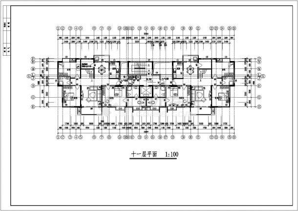 北京某小区4600平米左右11+1层塔式框架结构住宅楼建筑CAD设计图纸-图一