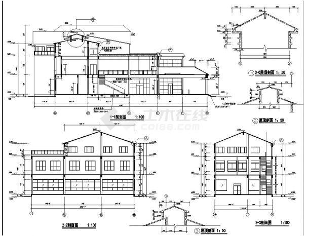 [江苏]某旅游公司三层接待中心建筑施工cad图纸-图一