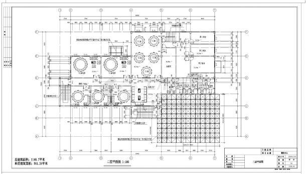 [湖北]某职业技术学院培训中心餐饮中心建筑施工cad图纸-图二