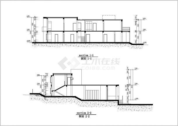 北京某小区228平米2层框混结构休闲别墅建筑+结构CAD设计图纸-图一