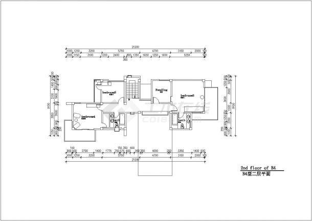 北京某小区228平米2层框混结构休闲别墅建筑+结构CAD设计图纸-图二