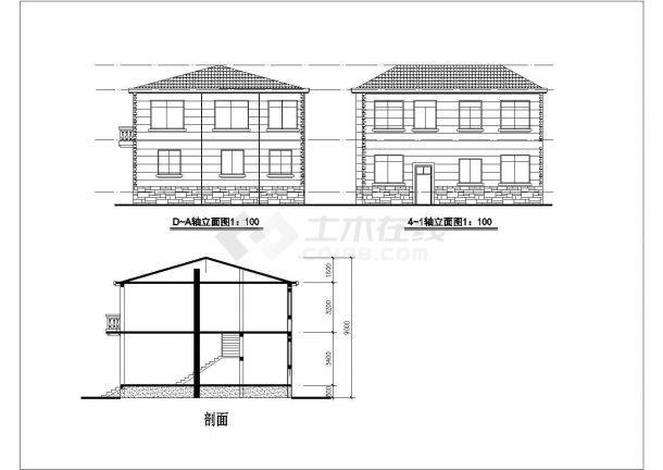 占地132平米3层框架结构单体别墅建筑+结构CAD设计图纸-图一