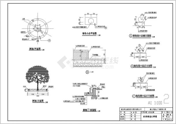 遵义某凤凰山广场景观设计全套施工cad图-图二