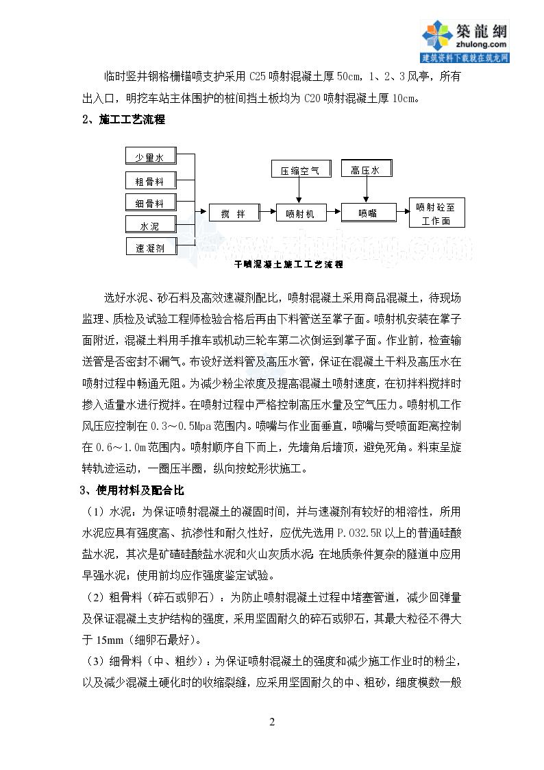 西安轨道交通车站喷射混凝土施工方案-图二