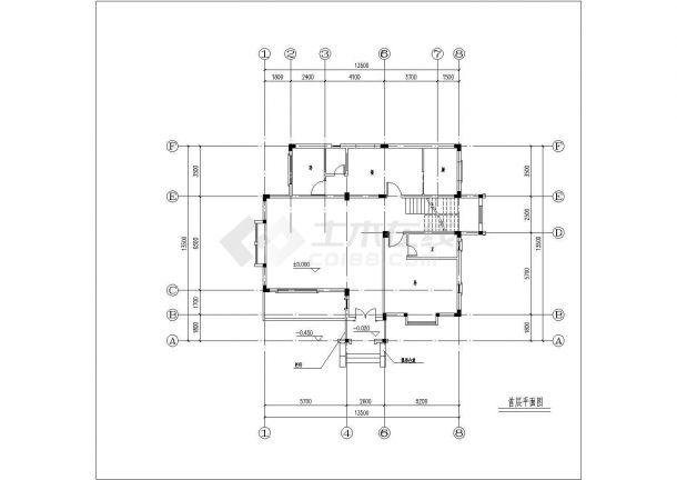 南京某别墅区370平米3层框混结构独立别墅建筑CAD设计图纸-图一