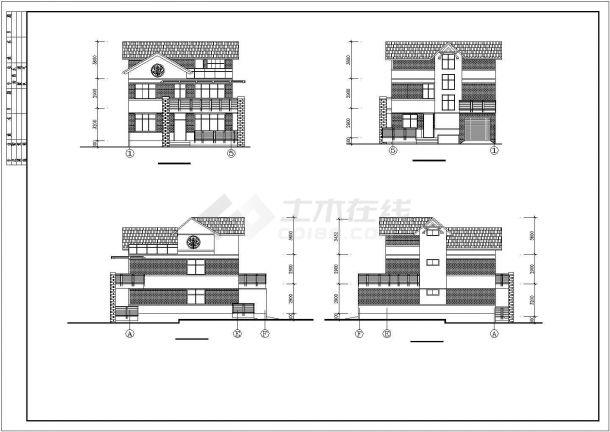 厦门市某别墅区264平米3层砖混结构独立别墅建筑CAD设计图纸-图二